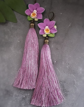 "Earrings ""Orchids"" with tassels, lilac color"